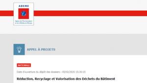 Appel à projet Réduction, Recyclage et Valorisation des Déchets du Bâtiment